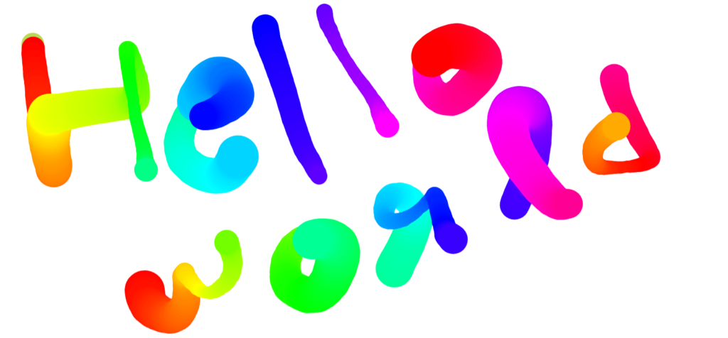 A user has drawn 'Hello world' onto a canvas with a brush that automatically changes color and stroke width.