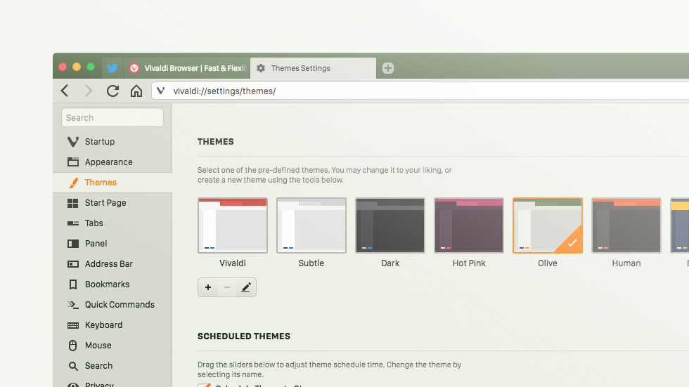 A screenshot of Vivaldi browser, showing its settings menu, with the theme configuration currently active.