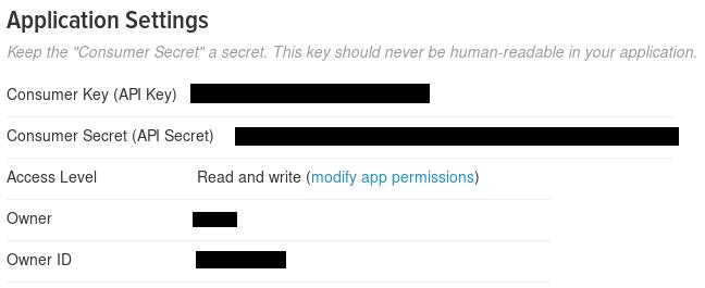 Keys and Access Tokens tab - Consumer keys.