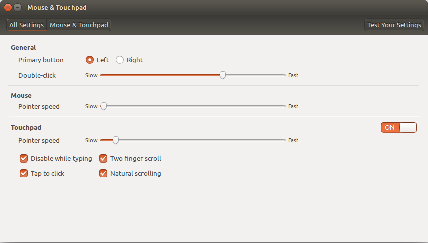 Mouse and Touchpad settings window in Ubuntu 14.04.