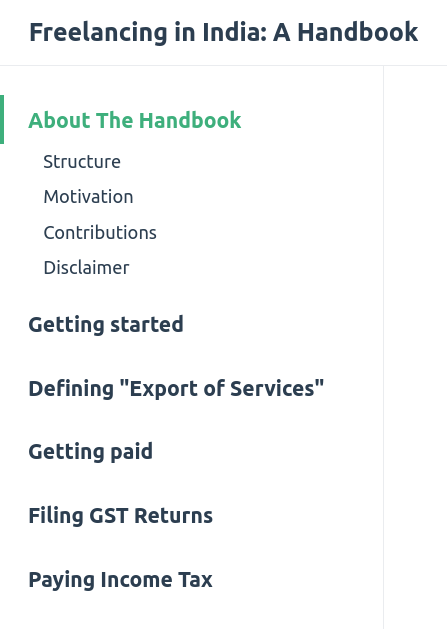A left-sided navigation menu. 'About The Handbook' is active, showing its sub-sections.