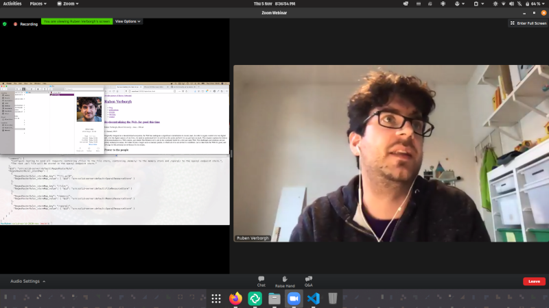 A screenshot of full-screen video conferencing app Zoom, showing a developer sharing their screen demonstrating what they've been working on.
