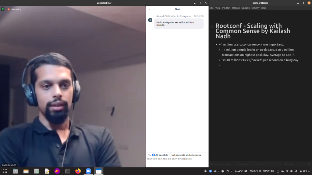 A screenshot of full-screen video conferencing app Zoom, where the CTO of Zerodha is talking about the scale they work at.